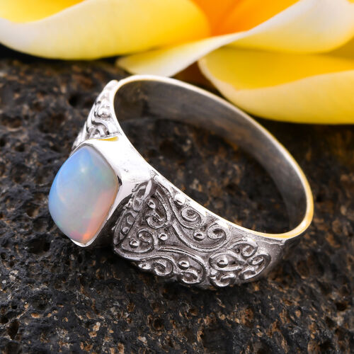 Royal Bali Collection - Ethiopian Welo Opal (Cushion Cut) Ring in Sterling Silver