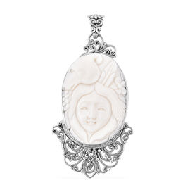 Princess Bali Collection OX Bone Carved Face Pendant in Sterling Silver, Silver wt 9.78 Gms