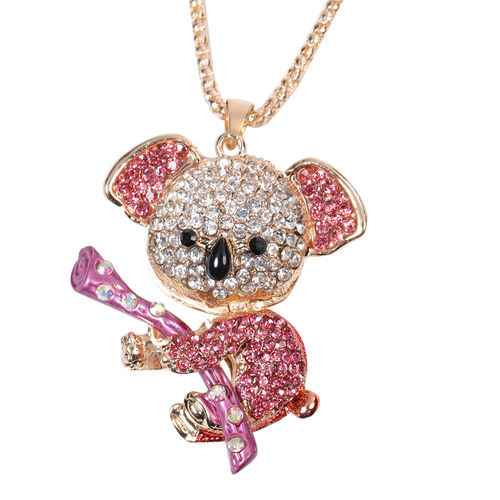 Multi Colour Austrian Crystal Enamelled Koala Pendant with Chain (Size 30 with Extender) in Yellow G