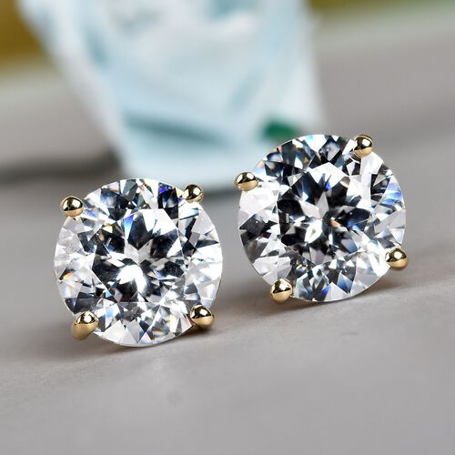 J Francis - 9K Yellow Gold (Rnd) Stud Earrings (with Push Back) Made with SWAROVSKI ZIRCONIA
