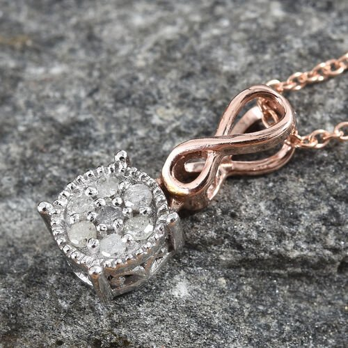 Diamond (Rnd) Infinity Pendant With Chain (Size 20) in Rose Gold and Platinum Overlay Sterling Silver 0.100 Ct.