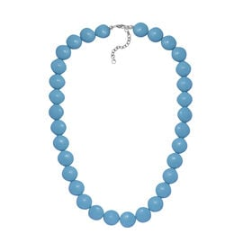 J Francis - Crystal From Swarovski  - Light Turquoise Crystal (Rnd) Necklace (Size 18 with 2 inch Extender) in Rhodium Overlay Sterling Silver
