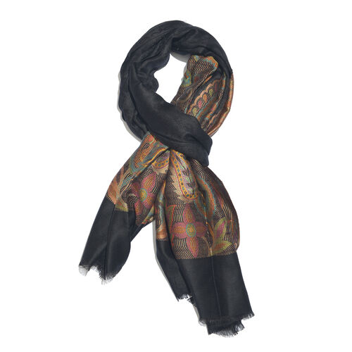 Designer Inspired - Black, Orange and Multi Colour Paisley and Floral Pattern Jacquard Scarf with Fringes (Size 190X70 Cm)