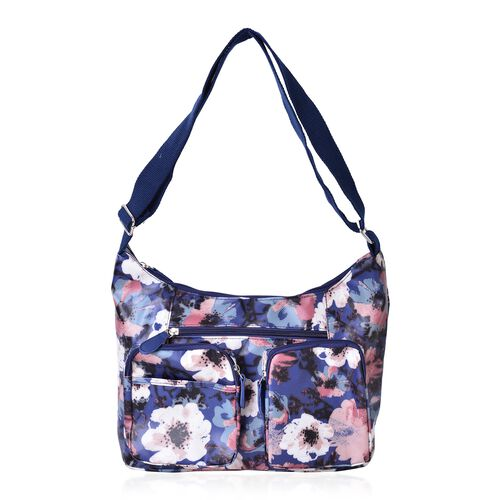 Navy Blue and Multi Colour Floral Pattern Crossbody Water Resistant Bag with Multi Pockets and Adjustable Strap (Size 33x22x11)