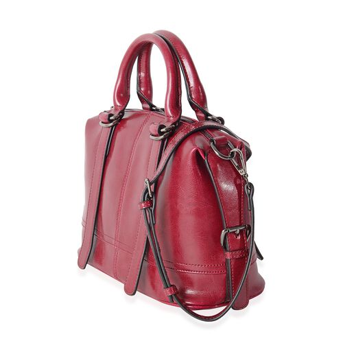 Close Out Deal 100% Genuine Leather Winter Berry Tote Bag with External Zipper Pocket and Removable Shoulder Strap (Size 28x22x13 Cm)