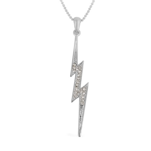 Lightning Bolt Necklace (Size 18) in Silver Tone
