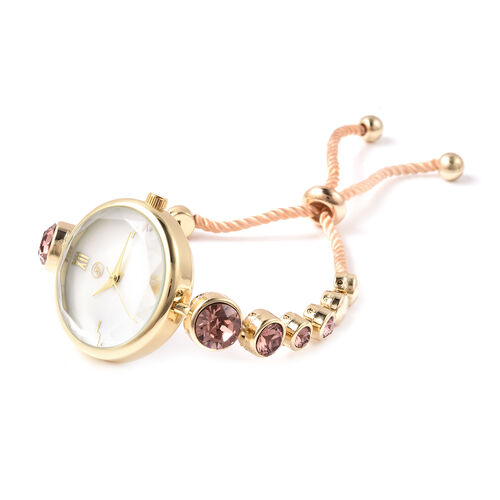 2 Piece Set - GENOA Japanese Movement Vintage Rose Swarovski Crystal Studded Water Resistant Bracelet Watch and Adjustable Bolo Bracelet (Size 6-9.5) in Yellow Gold Tone