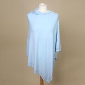 Kris Ana Diamonte Trim Poncho (One Size, Fits Approx 8-18) - Baby Blue