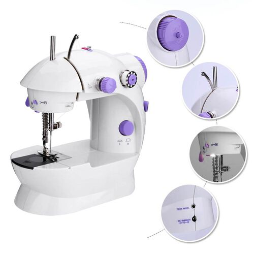 Multifunctional & Portable Mini Double Thread Sewing Machine - (Includes: 1 Needle, 1 Needle Threader, 4 Bobbins, 1 Foot Pedal & Adapter) - White & Purple