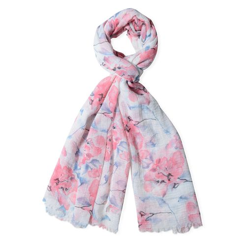 Pink Colour Big Flower Pattern Scarf with Blue Colour Leaf (Size 180x90 Cm)