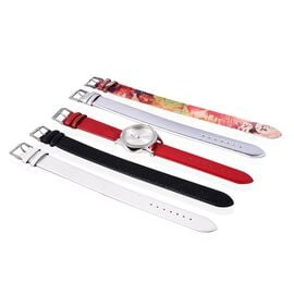 5 in 1 - STRADA Japanese Movement Austrian White Crystal (Rnd) Water Resistant Watch with Four Inter