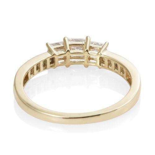 J Francis - 9K Yellow Gold (Sqr) Ring Made with SWAROVSKI ZIRCONIA