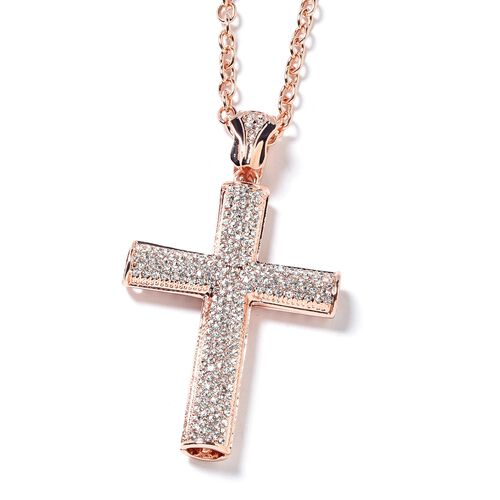 White Austrian Crystal (Rnd) Cross Pendant With Chain in Rose Gold Plated