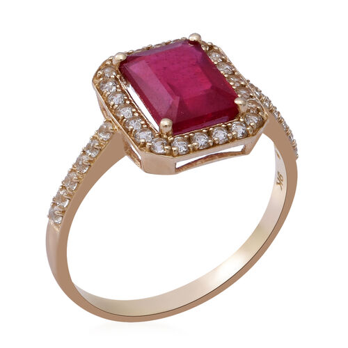 One Time Deal - 9K Yellow Gold African Ruby (Oct 9x7mm) and Natural Cambodian Zircon Ring 4.20 Ct.