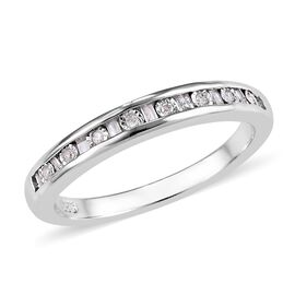 Diamond (Bgt and Rnd) Half Eternity Ring in Platinum Overlay Sterling Silver 0.150 Ct.