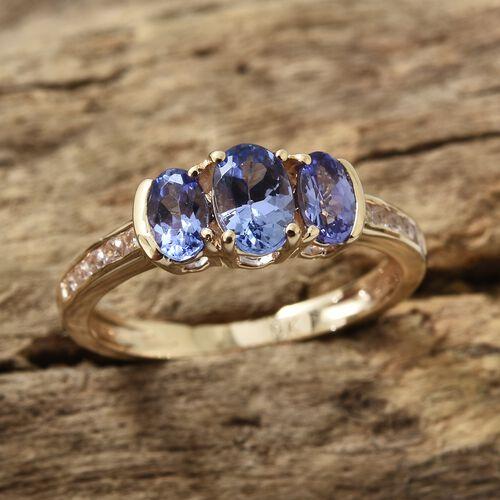 9K Yellow Gold AA Tanzanite (Ovl), Natural Cambodian Zircon Ring 1.000  Ct.