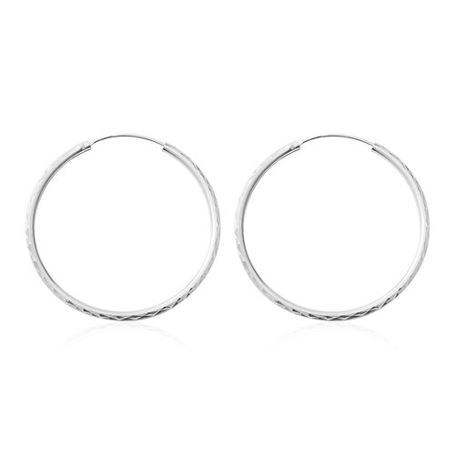 Thai Sterling Silver Collection- Rhodium Overlay Sterling Silver Hoop Earrings, Silver wt 3.00 Gms.