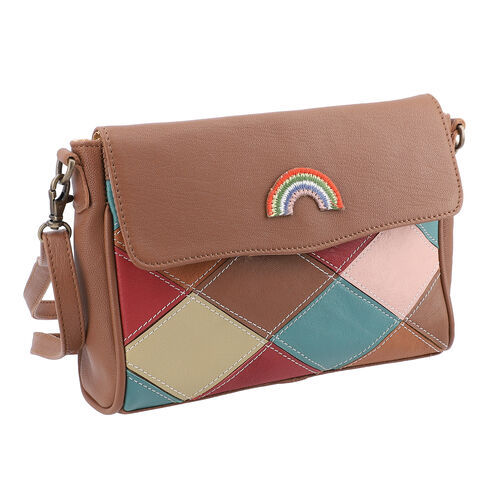 100% Genuine Leather Crossbody Bag with Flap (Size 23x5x18cm) - Tan and Multi Colour