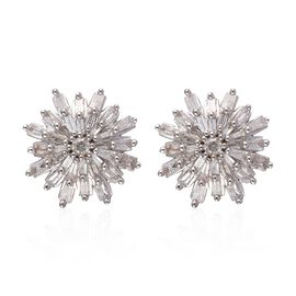 0.50 Ct Diamond Snowflake Stud Earrings in 9K Yellow Gold SGL Certified I3 GH