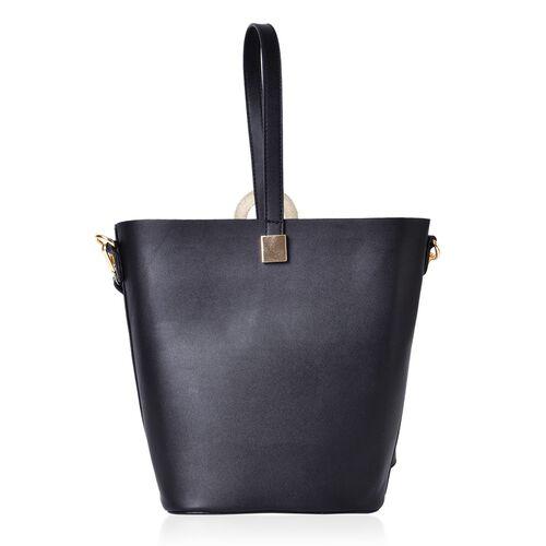 2 Piece Set - Black Colour Large Size Handbag with Adjustable and Removable Shoulder Strap (Size 33x28x21x13 Cm) and Mustard Colour Small Handbag (Size 22x18x15x10 Cm)