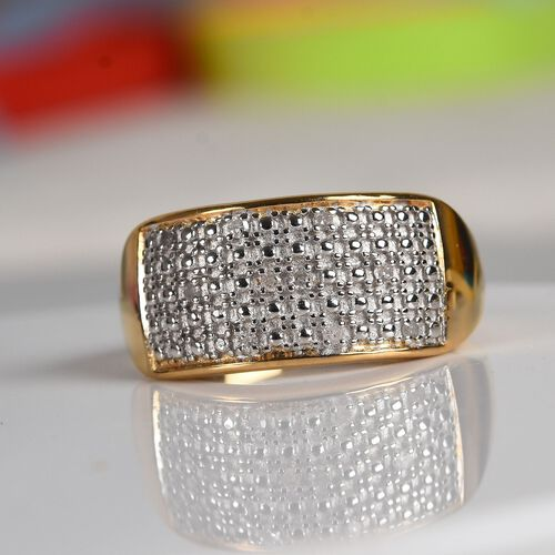 Diamond Cluster Ring in Yellow Gold Overlay Sterling Silver