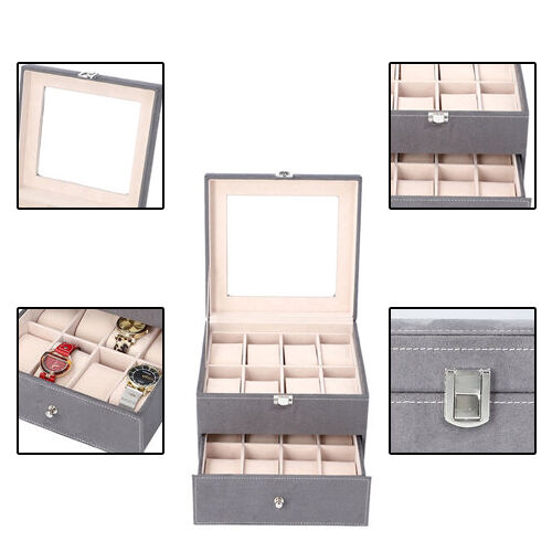 Two-Layer Velvet Watch Box with Glass Window on Top in Grey