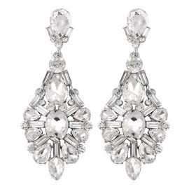 Simulated Diamond (Pear) and White Austrian Crystal Earrings in Silver Tone