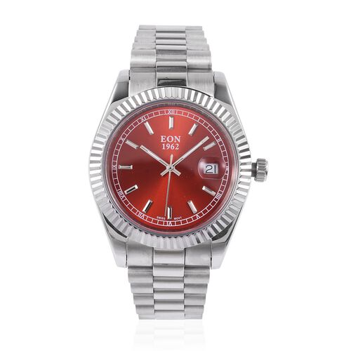 EON 1962 Swiss Movement Red Dial Sapphire Glass 3ATM Water Resistant Watch in Silver Tone with Stainless Steel