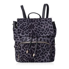 Leopard Pattern Velvet Backpack with Magnetic, Drawstrings and Flap Closure (Size 27x31x12 Cm) - Gre