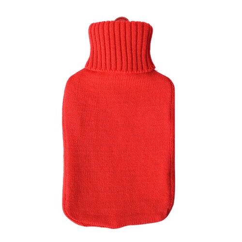 2 Piece Set Hotwater Bottle with Jacquard knitted Cover (Size 32X18 Cm)- Red and Blue