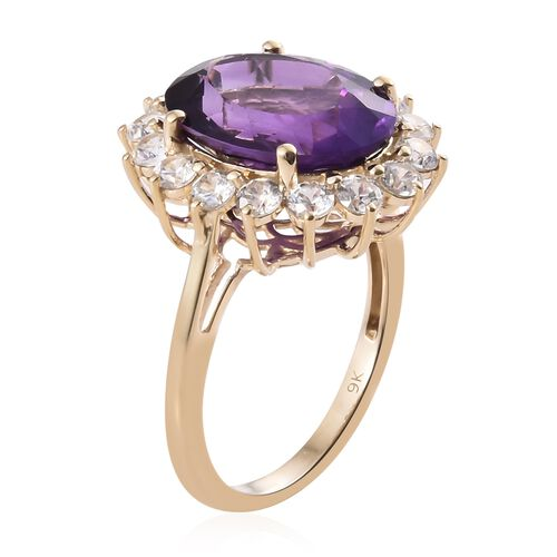 9K Yellow Gold AAA Lusaka Amethyst (Ovl 8.25 Ct), Natural Cambodian Zircon Floral Ring 10.750 Ct.