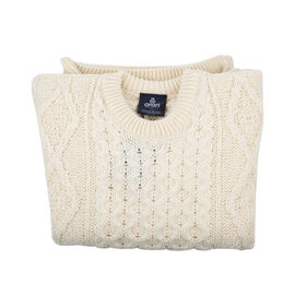 ARAN 100% Pure New Wool Irish Sweater (Size L) - Cream