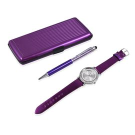3 Piece Set- Crystal Filled Pen,Floating Crystal Watch and RFID Clutch (Purple)