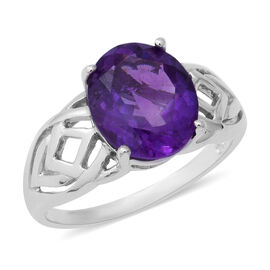 4.16 Ct Amethyst Solitaire Ring in Rhodium Plated Sterling Silver