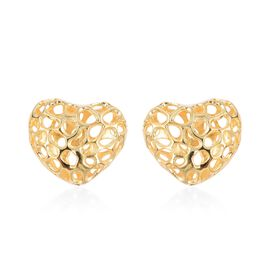 RACHEL GALLEY Puff Amore Heart Stud Lattice Earrings in Gold Plated Sterling Silver