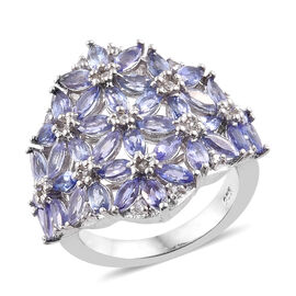Tanzanite (Mrq), Natural Cambodian Zircon Cluster Ring in Platinum Overlay Sterling Silver 3.500 Ct, Silver wt 5.97 Gms.