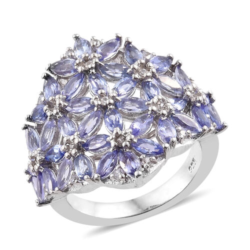 Tanzanite (Mrq), Natural Cambodian Zircon Cluster Ring in Platinum Overlay Sterling Silver 3.500 Ct,