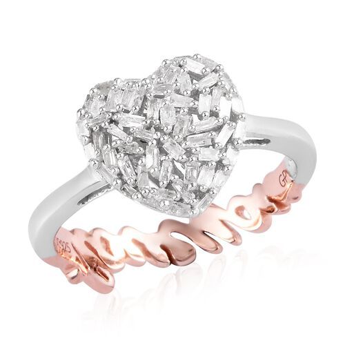 GP Diamond and Blue Sapphire Heart and ILoveYou Ring in Rose Gold and Platinum Overlay Sterling Silv