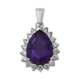 10.27 Ct Zambian Amethyst and Zircon Halo Drop Pendant in Rhodium Plated Silver
