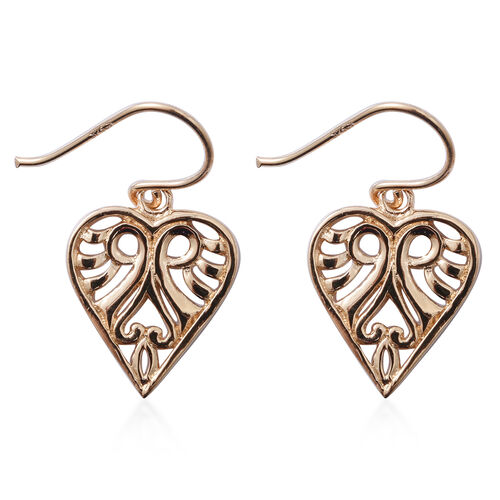 Yellow Gold Overlay Sterling Silver Heart Drop Filigree Hook Earrings, Silver wt 3.80 Gms