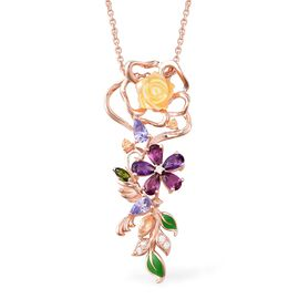 Yellow Mother of Pearl, Tanzanite and Multi Gemstone Pendant with Chain (Size 18) in Enamelling Rose