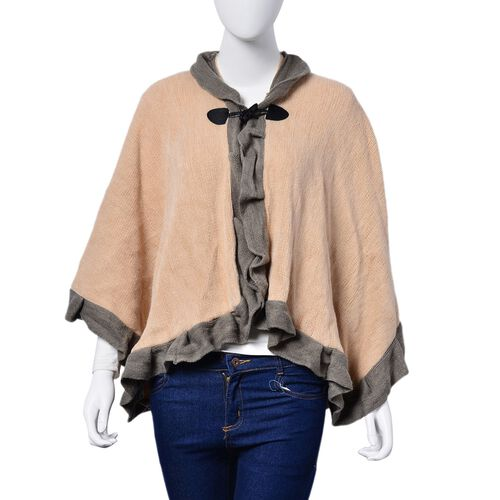 Designer Inspired - Khaki and Grey Colour Poncho (Size 100x50 Cm)