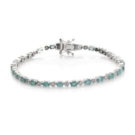 Grandidierite and Natural Cambodian Zircon Bracelet (Size 7.5) in Platinum Overlay Sterling Silver 4