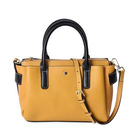 100% Genuine Leather Yellow and Black Colour Bag (Size: 30x24x11x18 Cm) with Detachable Shoulder Str