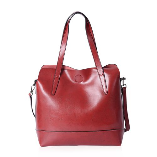 Designer Inspired - 2 Piece Set - 100% Genuine Leather Red Colour Tote Bag (Size 31x30x12 Cm) and Pouch (Size 29x22x11 Cm)