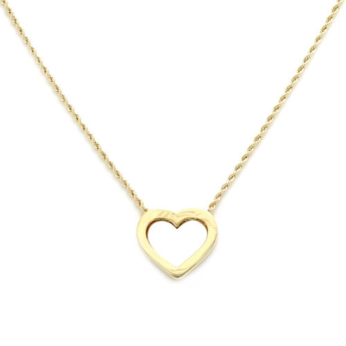 Italian Made - 9K Yellow Gold Heart Pendant Necklace (Size 18)