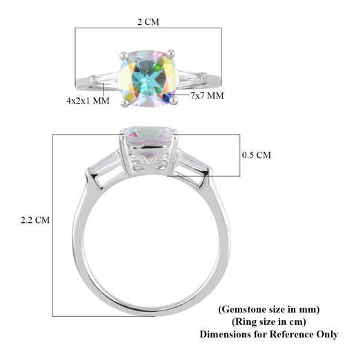 Mercury Mystic Topaz and White Topaz Ring in Platinum Overlay Sterling Silver 1.75 Ct.
