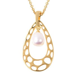 RACHEL GALLEY Freshwater White Pearl Lattice Drop Pendant with Chain (Size 30) in Yellow Gold Overla