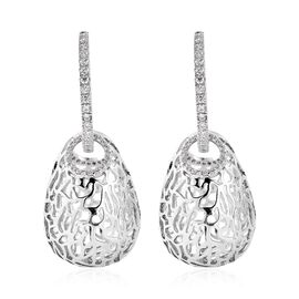 Simulated Diamond Detachable Cage Theme Earrings (with Clasp) in Silver Tone