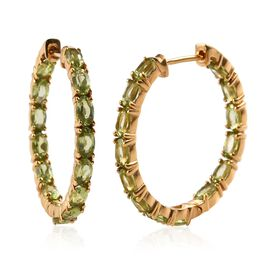 Hebei Peridot (Ovl) Hoop Earrings (with Clasp) in 14K Gold Overlay Sterling Silver 6.50 Ct, Silver w